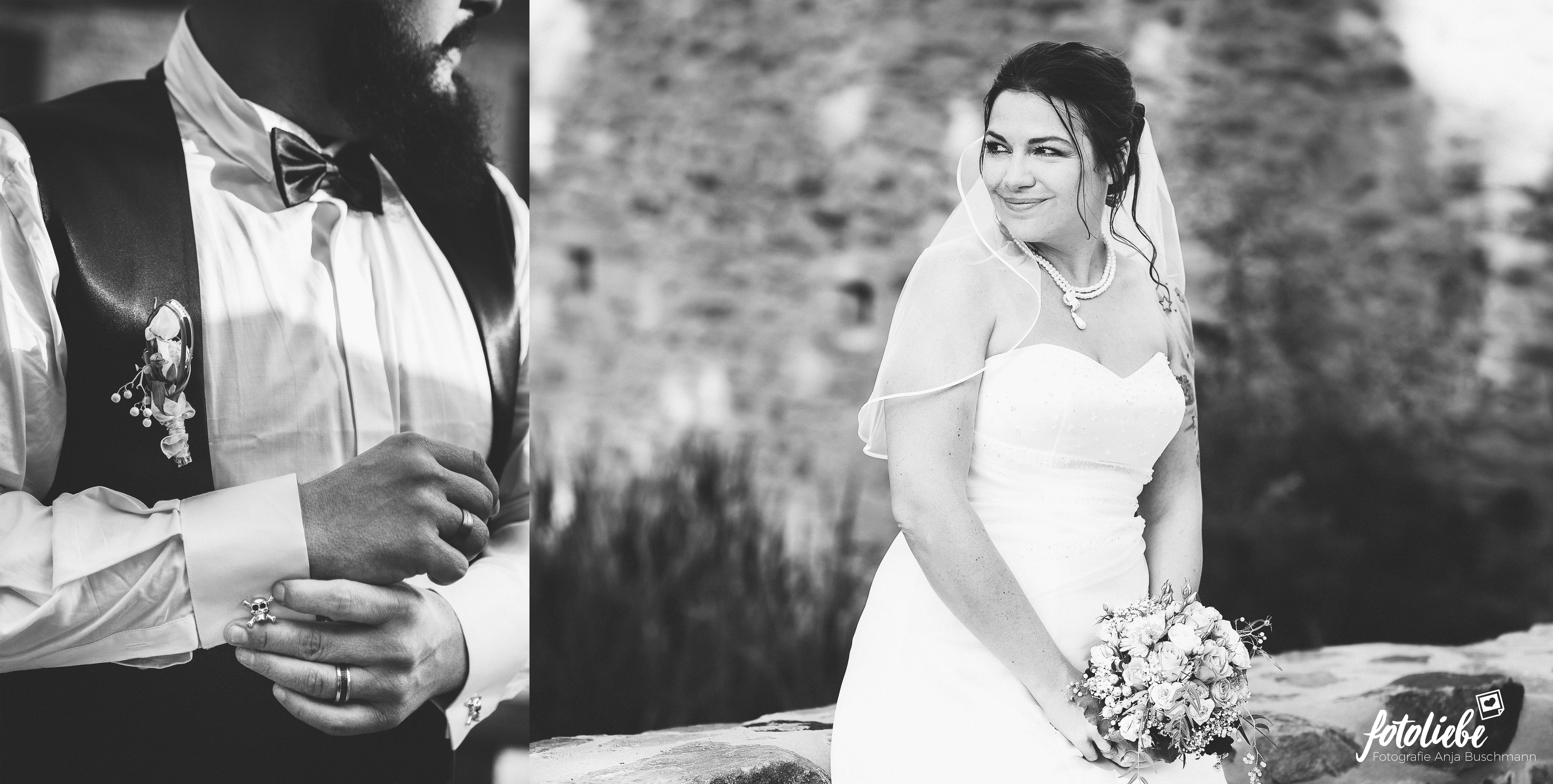 Schwarzweiß Portrait Brautpaar
