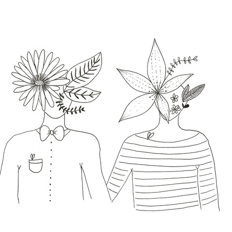 """Couple """"Les têtes fleuries"""""""
