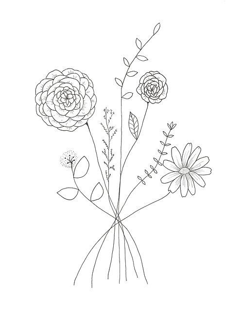 Affiche bouquet personnalisé prénom