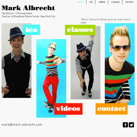 Web design for the website of Mark Albrecht, tap dancer, teacher and choreographer