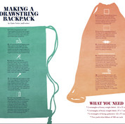 """Layout for article """"Making a drawstring backpack"""" for LCCA Magazine, London"""