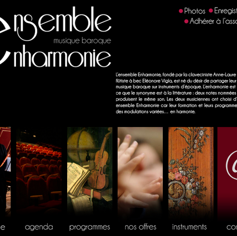 Web design for the website of Ensemble Enharmonie (classical music orchestra)