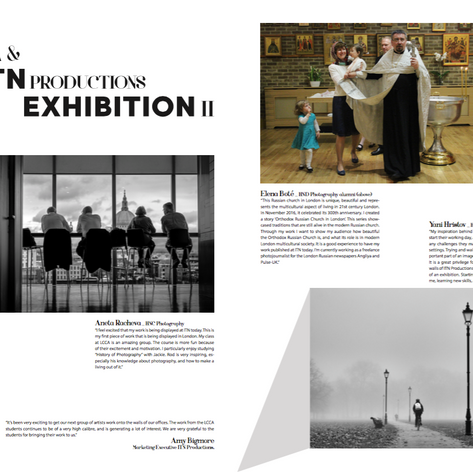"Layout for article ""LCCA & ITN Productions Exhibitions II"" for LCCA Magazine, London"