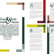 "Layout for article ""Great British & Irish Saints"" for LCCA Magazine, London"