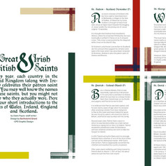 "Layout for article ""Great British & Irish Saints"" for LCCA Magazine, London"