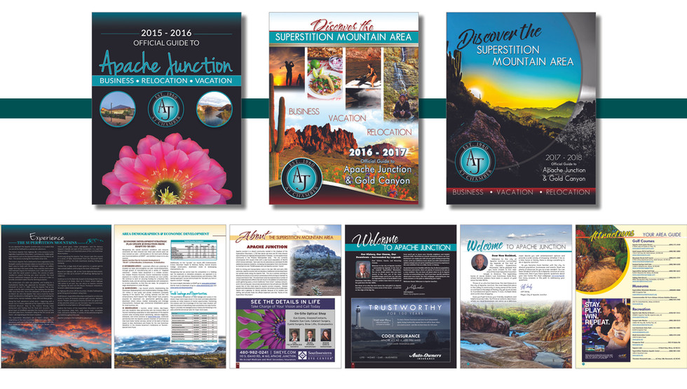 Apache Junction Chamber of Commerce Visitor Guide and Business Directory. Design and layout from 2010 - 2018