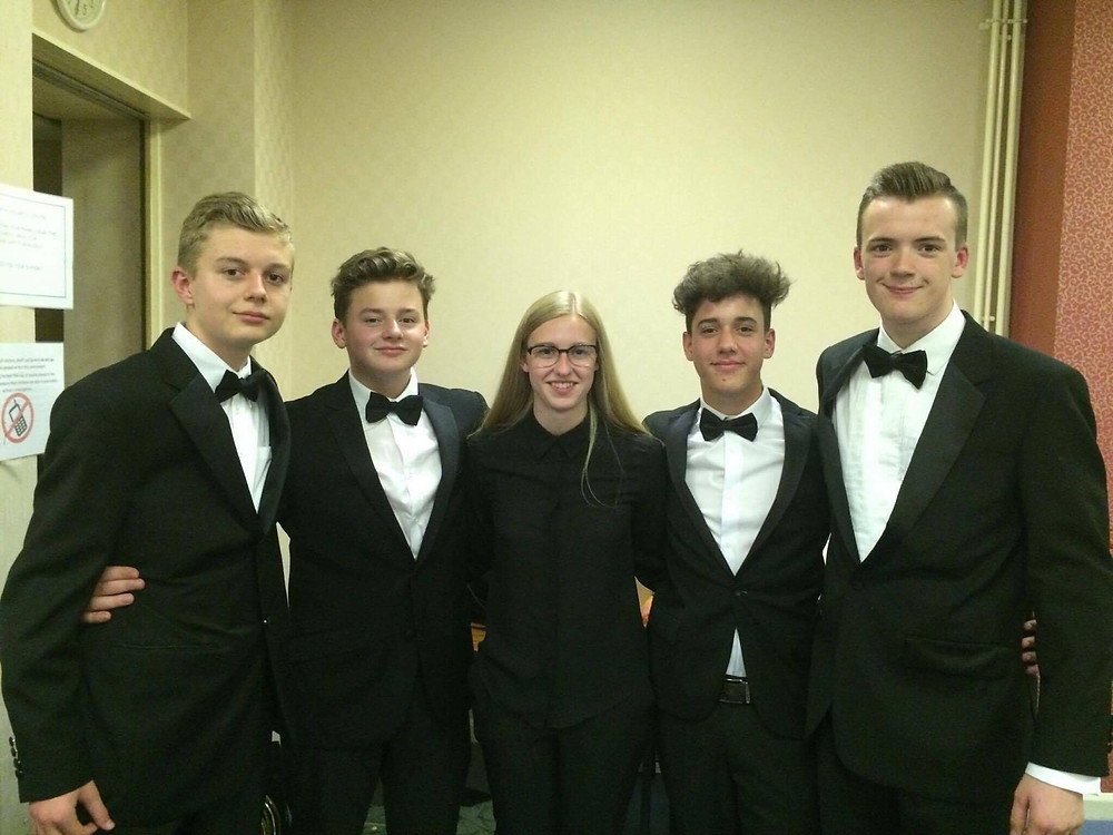 Jack Lythaby (right) with friends from The National Youth Brass Band of Great Britain