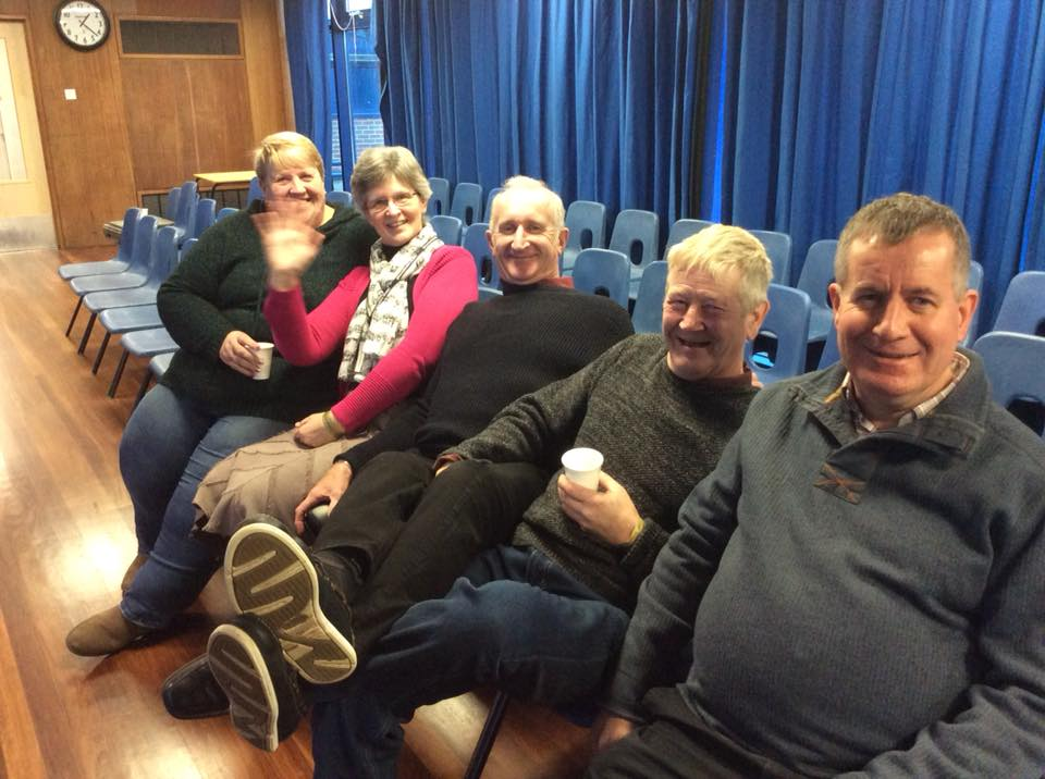 Gloucestershire Brass Band Association committee taking a break from volunteering at the weekend event