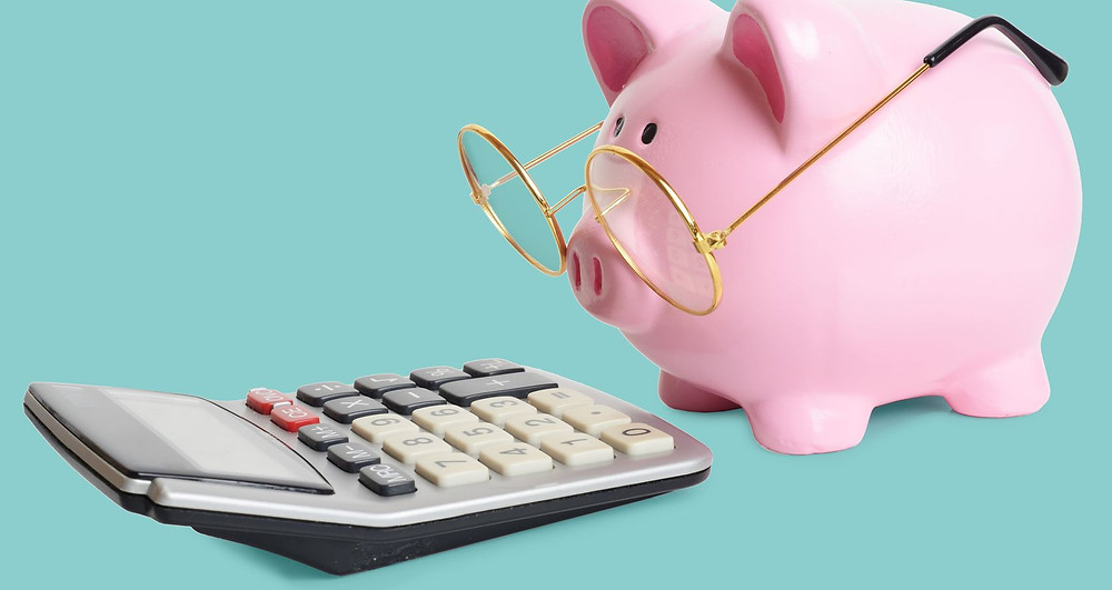 Piggy bank with spectacles looking at a calculator