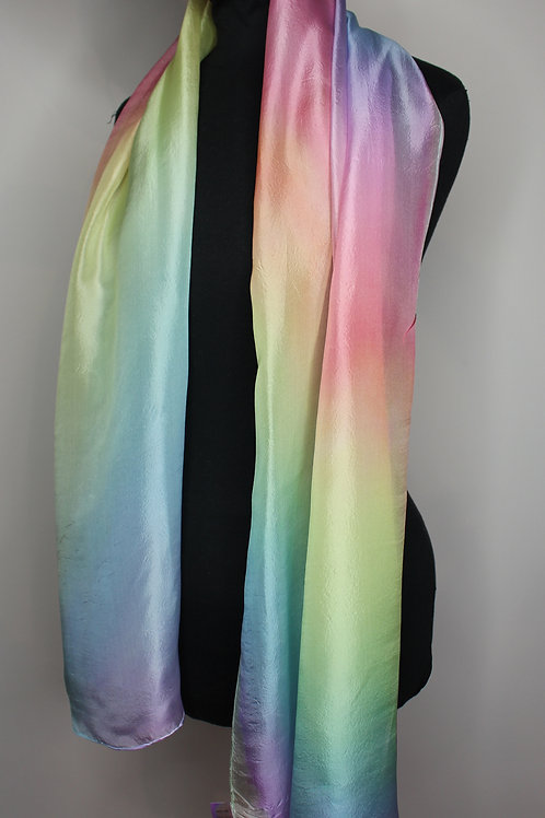 Rainbow gradient pongé silk hand-painted scarf (MTO)