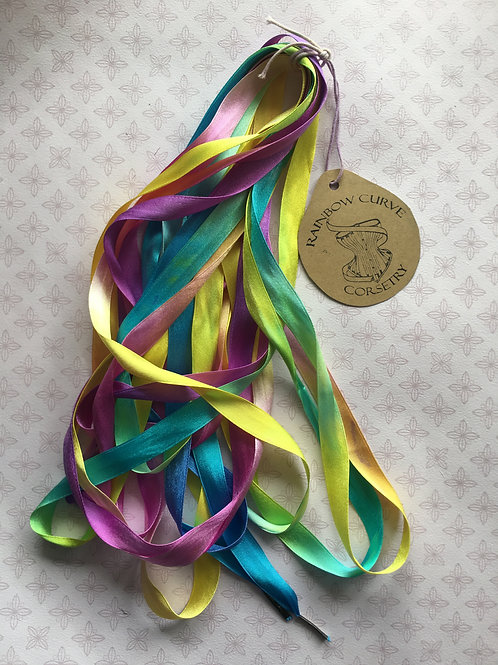 SILK Rainbow corset laces (made to order)