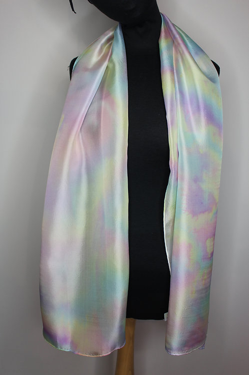 Mother of pearl pongé silk hand-painted scarf (MTO)