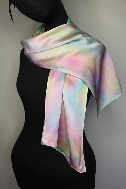 Mother of pearl crêpe satin silk hand-painted scarf (MTO)