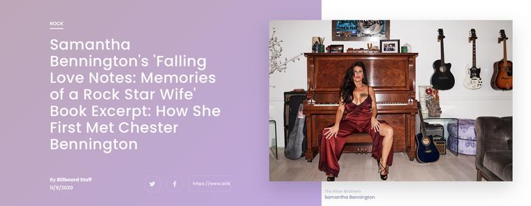 Samantha Bennington's 'Falling Love Notes: Memories of a Rock Star Wife' Book Excerpt: How She First Met Chester Bennington