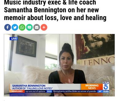 KTLA: Music Industry exec & life coach Samantha Bennington on her new memoir about loss, love and healing