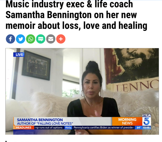 KTLA: Music Industry exec & life coach Samantha Bennington on her new memoir about loss, love and healing