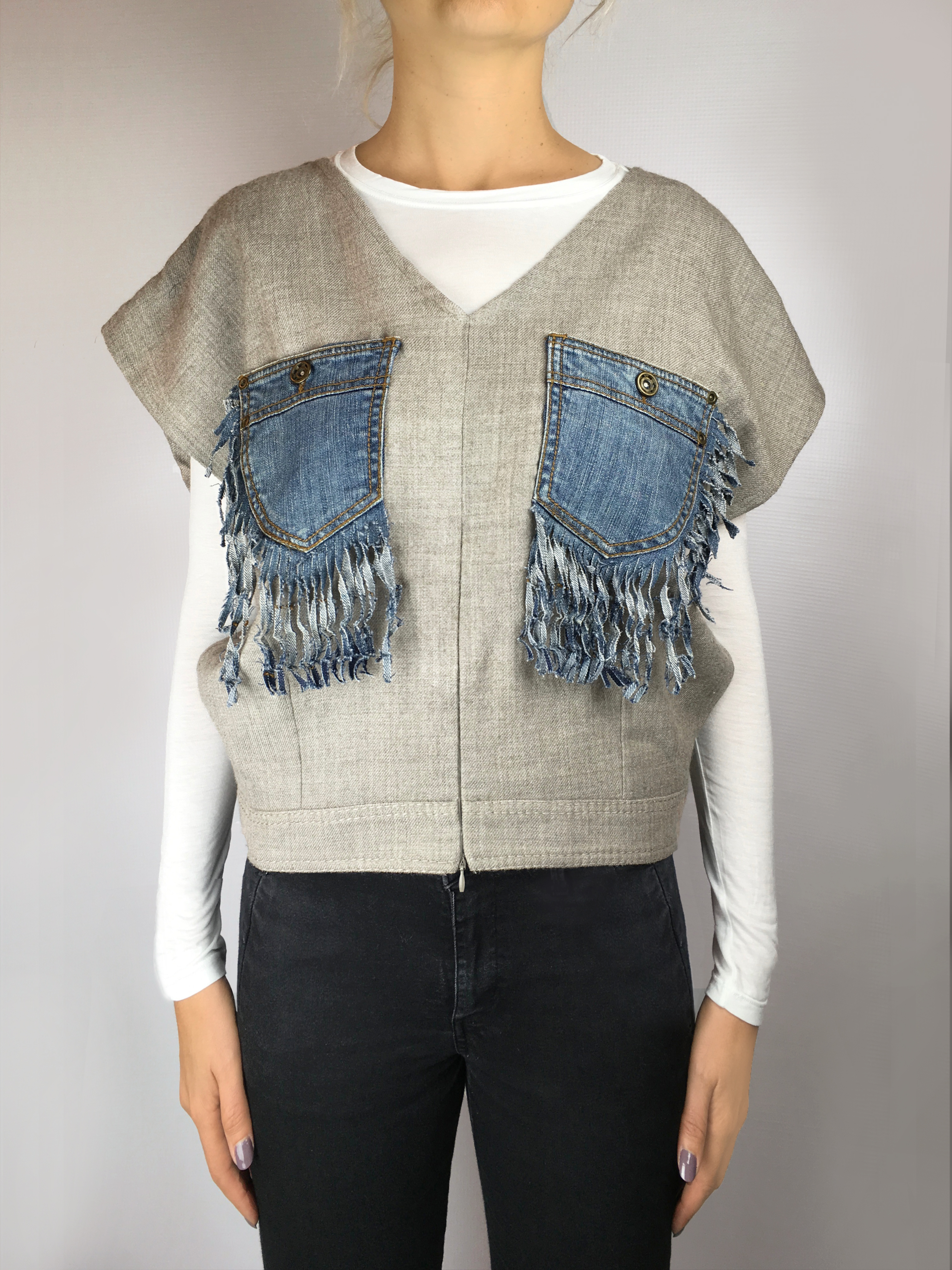 MILOVA 2017 top poches jeans frange