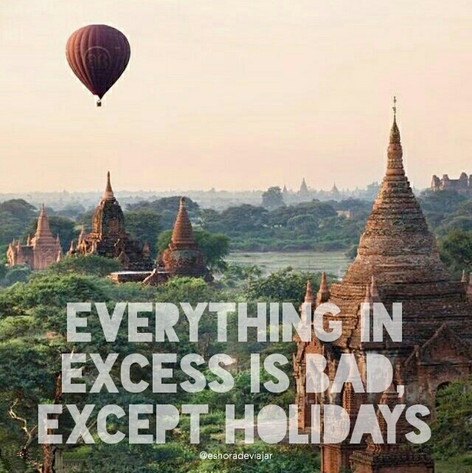Everything in excess is bad, except holidays - Travel Quotes