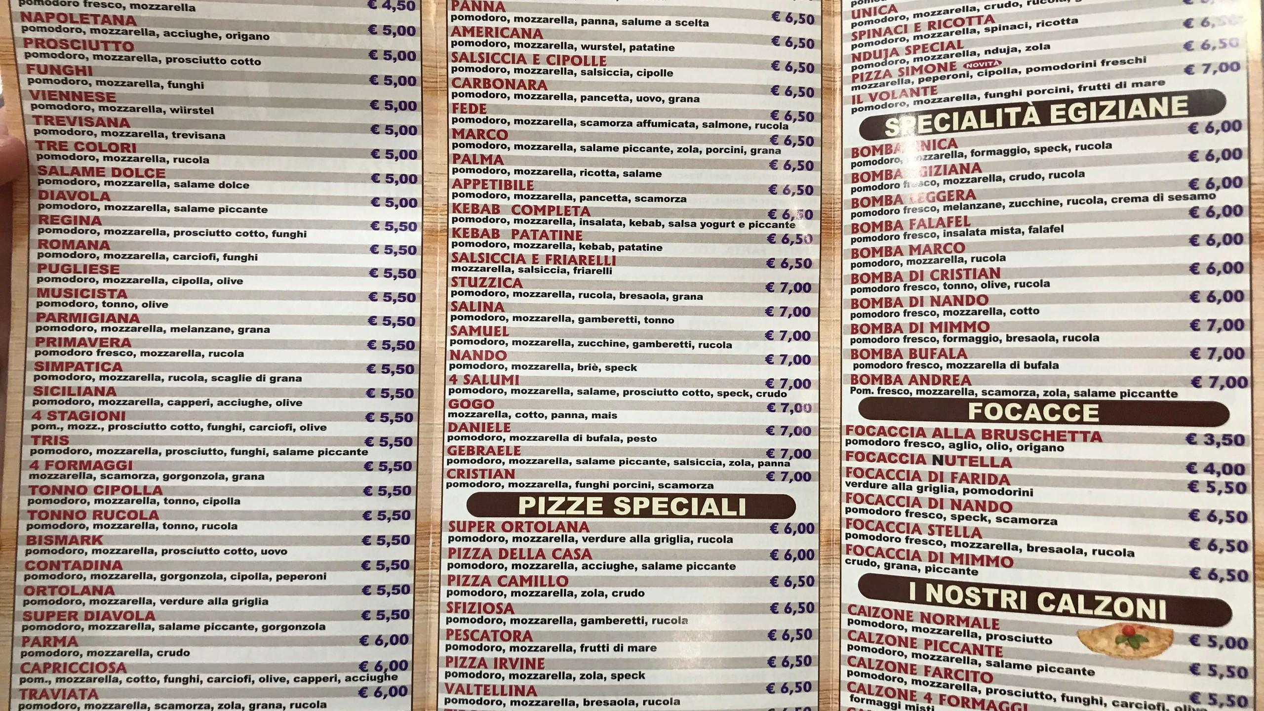 Pizzeria Da mimmo 3 menu