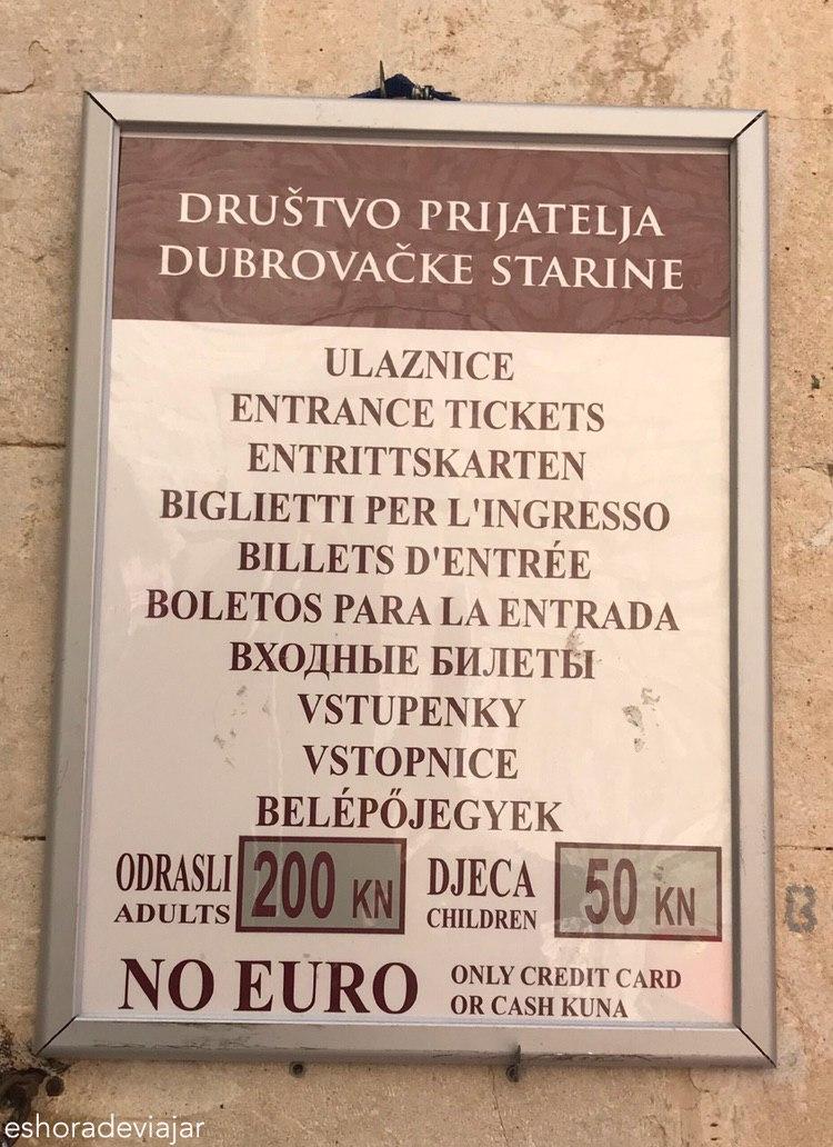 Murallas Dubrovnik precio