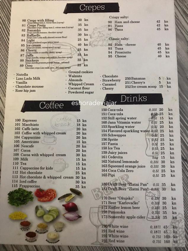 Presa Dubrovnik Restaurante carta
