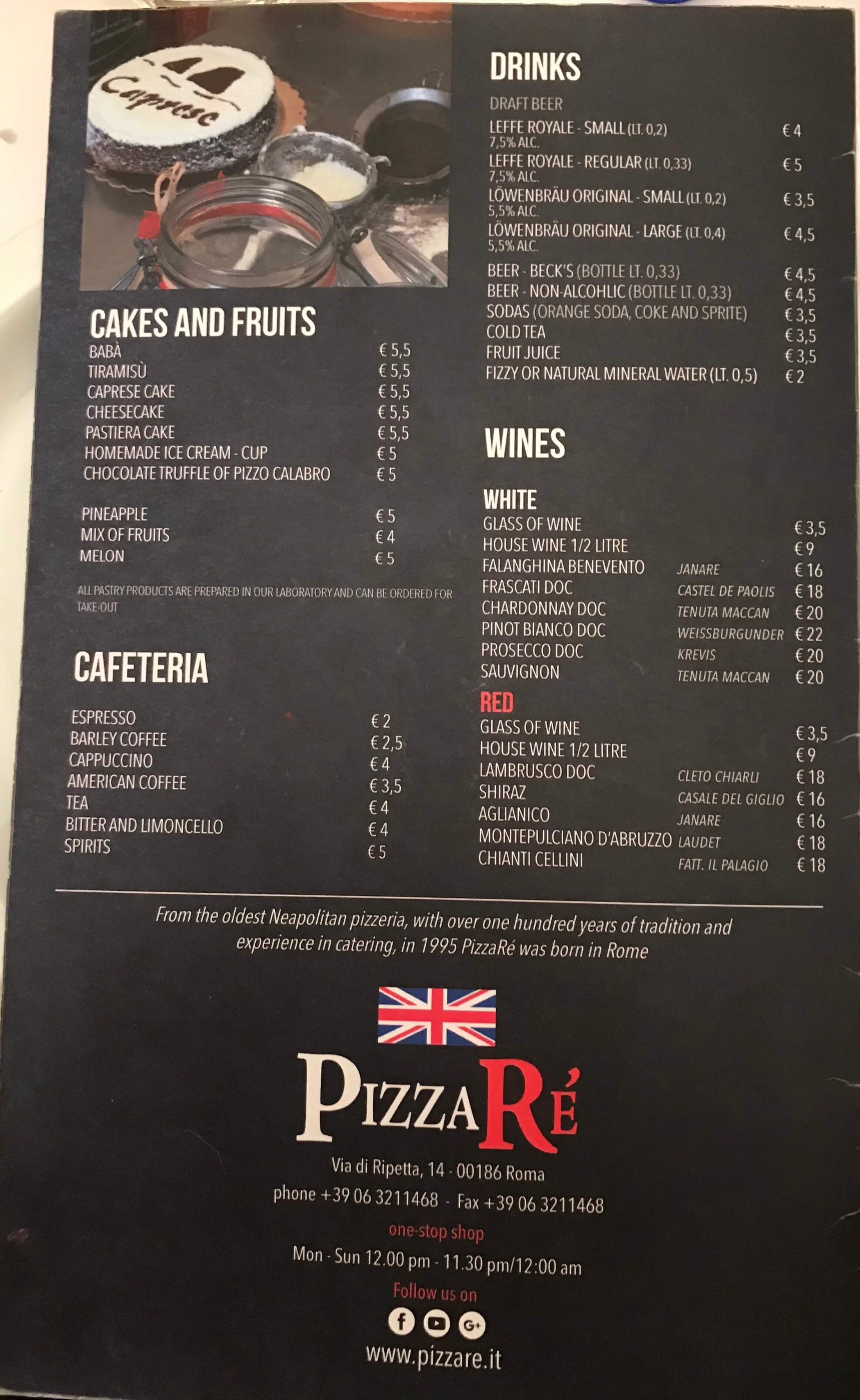 Menu PizzaRe