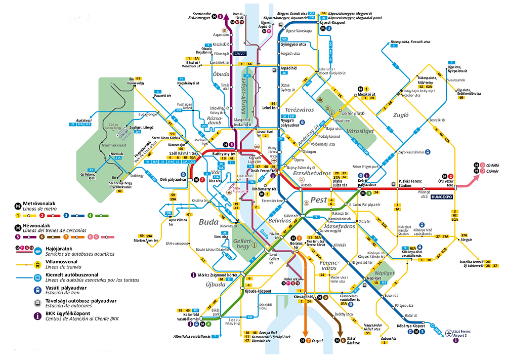 Mapa del transporte publico de Budapest