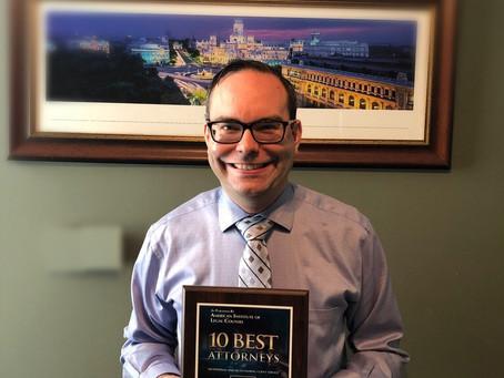 Law Office of John Rottier wins Top 10 !!