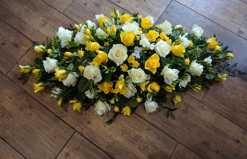 White & Yellow Rose & Freesia Casket Spray