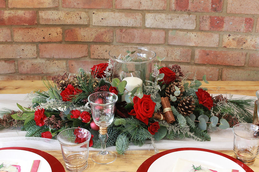 Christmas Table Flower Arrangement With Glass Candle Vase