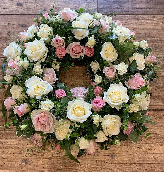 Pink &White Rose Wreath