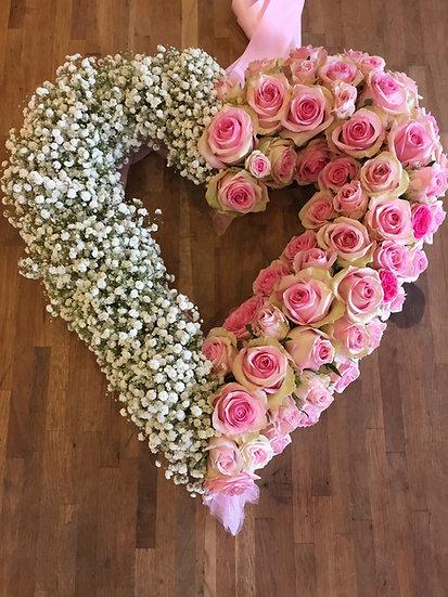 Pink Rose & Gypsophila Heart