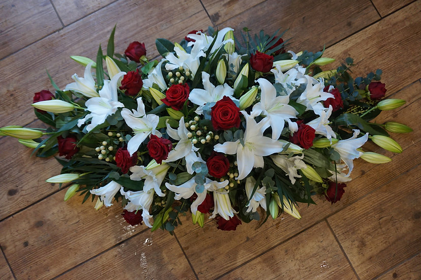 Red Rose & White Lily Casket Spray