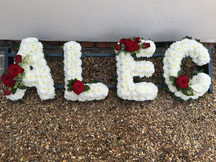 Personalised 'Lettering' Tribute with white base, leaf edge and Spray