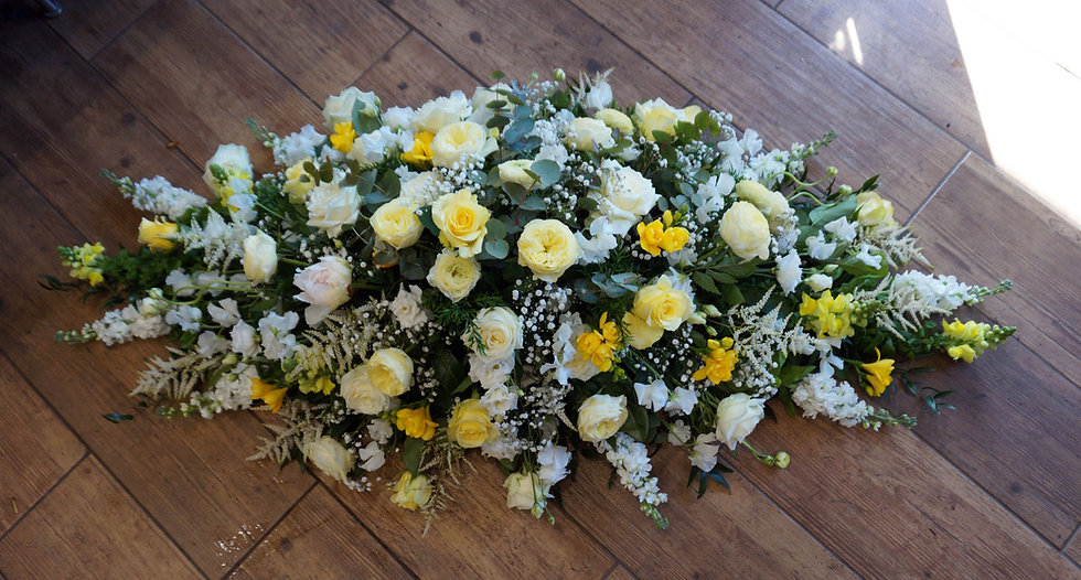 White & Yellow Casket Spray