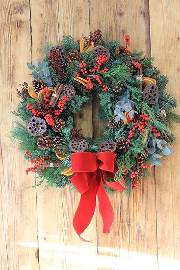 A Traditional Festive Door Wreath