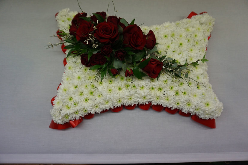 White Based Pillow with Red Rose Spray