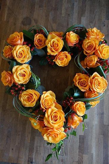 Orange Rose Heart