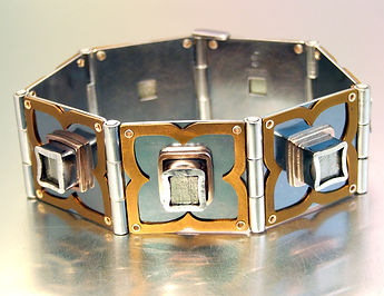 Melody Armstrong HINGED PYRITE CUBE BRAC