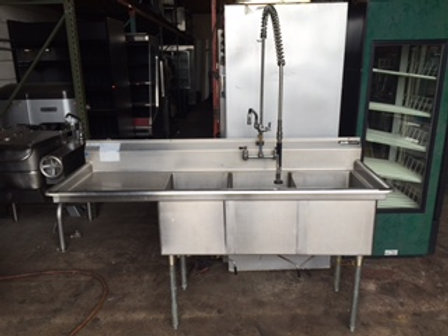 """Stainless Steel Sink 3 Compartment 75"""""""
