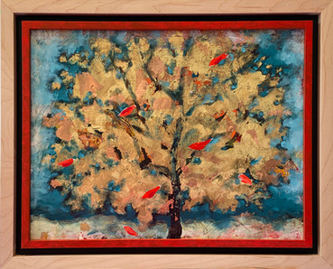 Gold Leaf Red Bird
