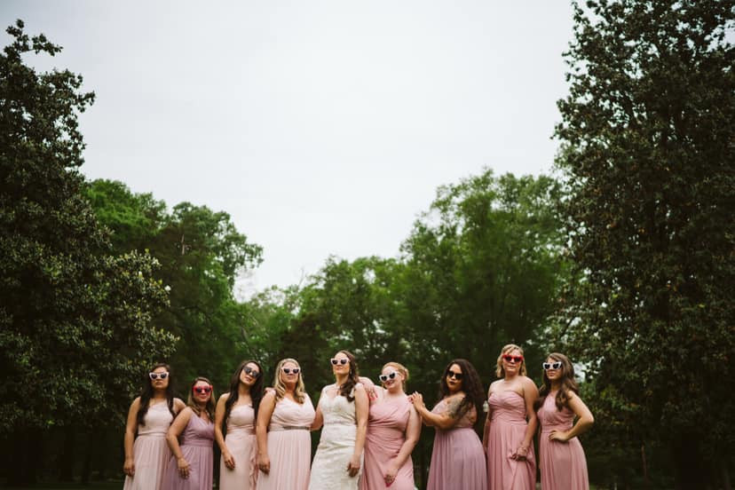 The Bride and Bridesmaids strike a pose