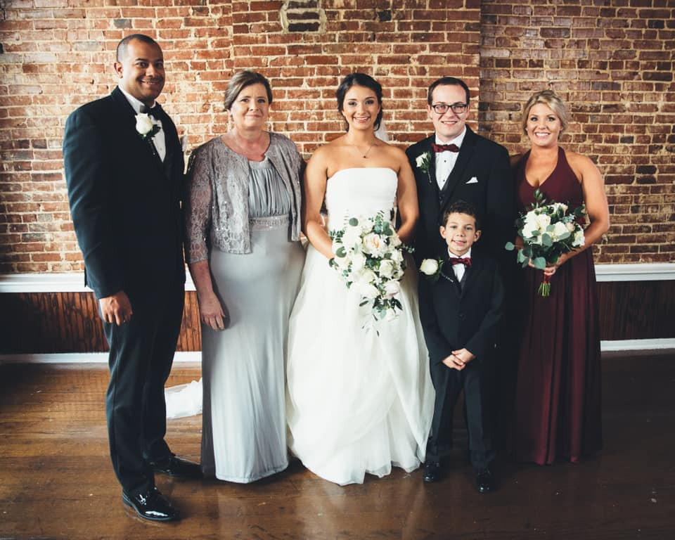 Happy family after the wedding ceremony