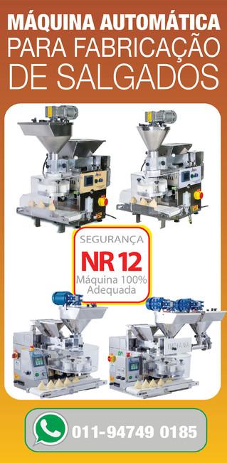 Fabricadoras automáticas para produção de doces e salgados.