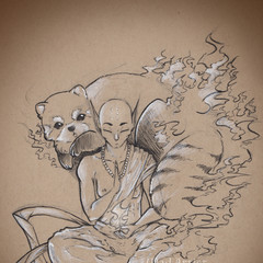 Fire Elf with Red Panda