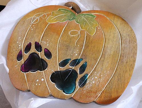 Paw Print on Pumpkin