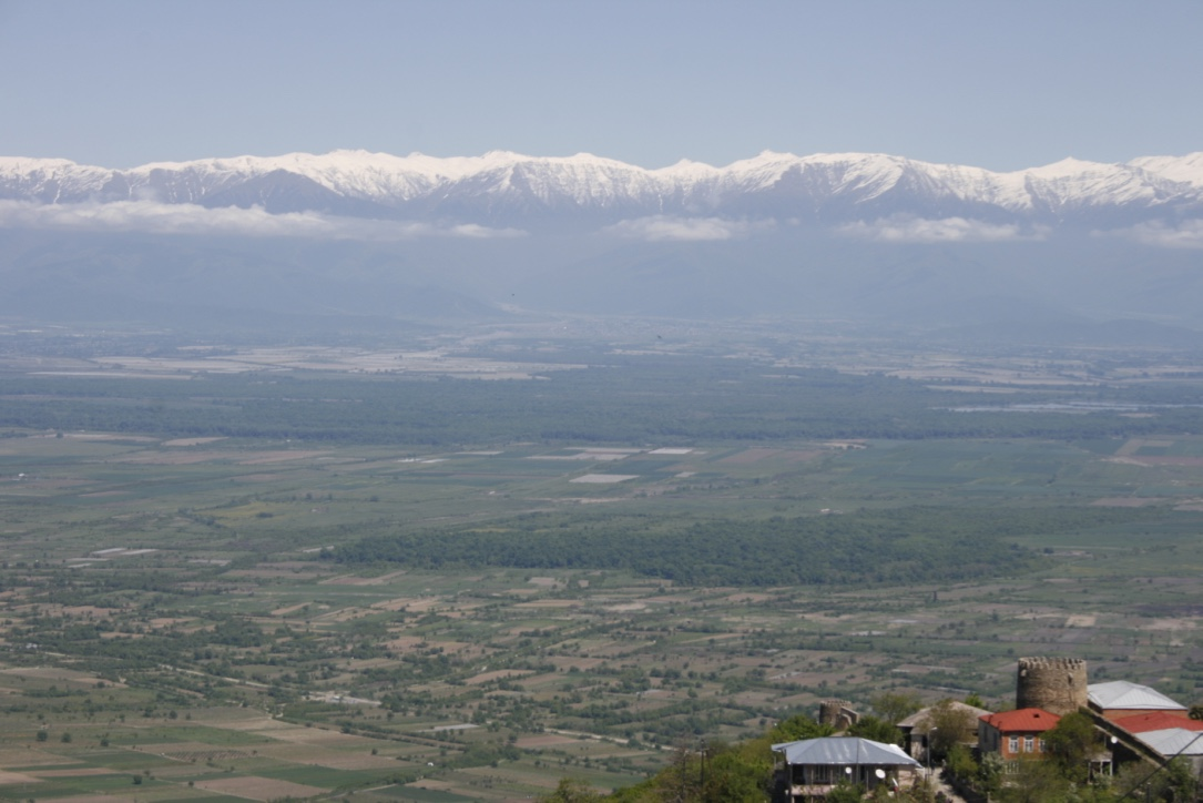 Alazani Valley and Caucasus Mountains