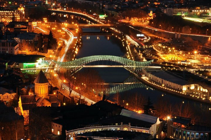 Bridge of Peace at Night, Tbilisi