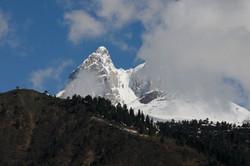 Ushba Glacier 4700 mt in Clouds Svaneti