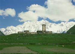 Lamaria Church and Shkhara Glacier
